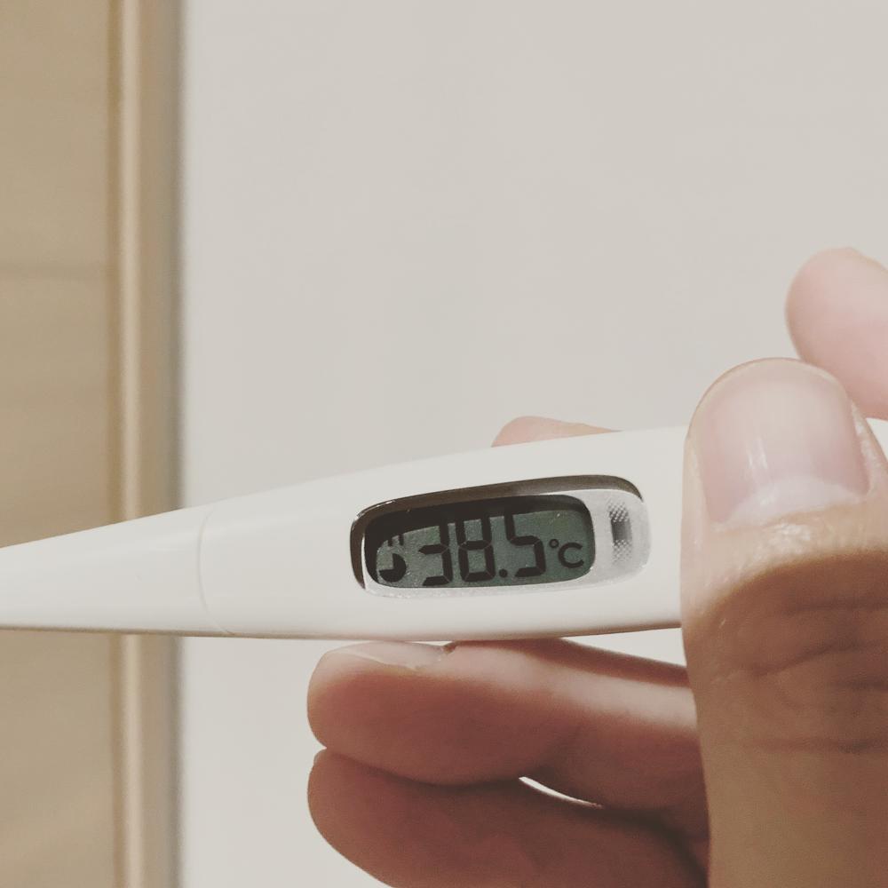 高熱を示す体温計