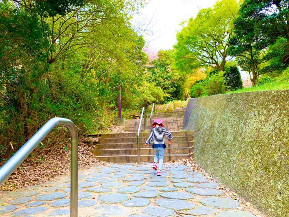 松山総合公園のちびっこ広場への階段