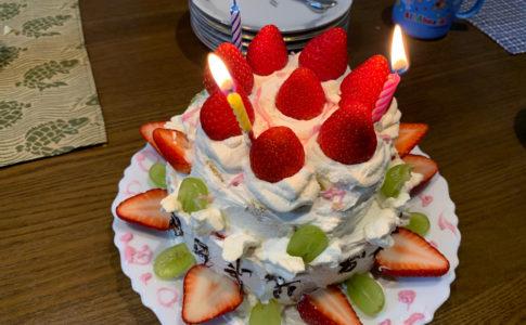 誕生日の手作りケーキ